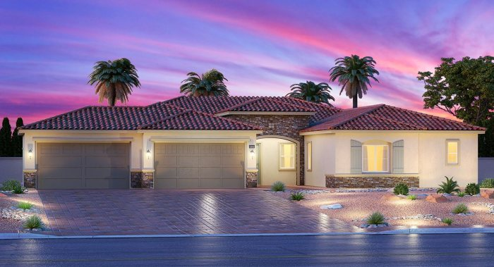 Las vegas huge new single story homes with 4 car garage on for New single story homes